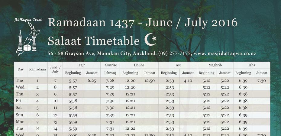 Ramadaan 1737/2016 Timetable