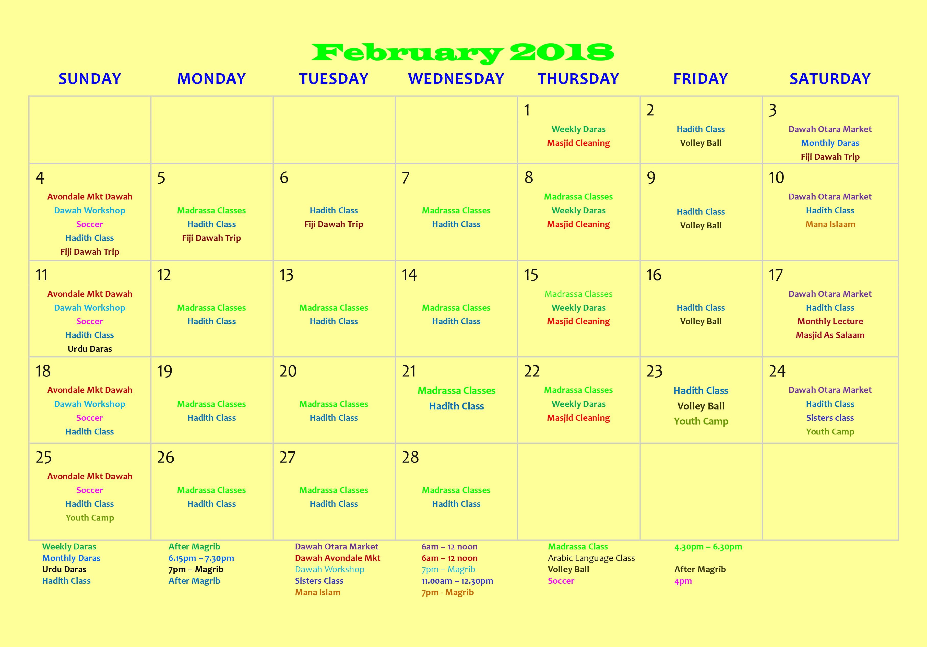 masjid islamic events calendar